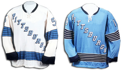 The Pen's first jersey, unveiled in their inaugural NHL season in 1967.