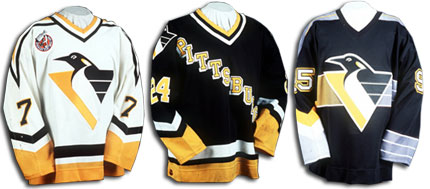 Another logo change in the 1992 season, along with the diagonal city name.  Also one of the original third jerseys in the NHL was introduced in January of 1996, eventually becoming the teams' away sweater in the late 90's.