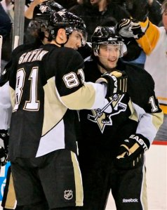 Pittsburgh Penguins' Petr Sykora, right, of the Czech Republic, celebrates his second goal of the game with teammate Miroslav Satan, left, of Slovakia, against the Atlanta Thrashers in the second period of a NHL hockey game in Pittsburgh Tuesday, Jan. 6, 2009. The Penguins won 3-1. (AP Photo/Gene J. Puskar)